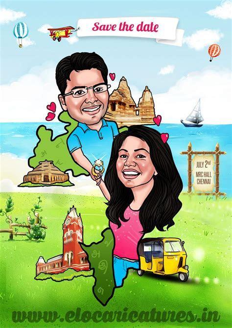 Indian Couple Caricature   2 States Theme!   Wedding