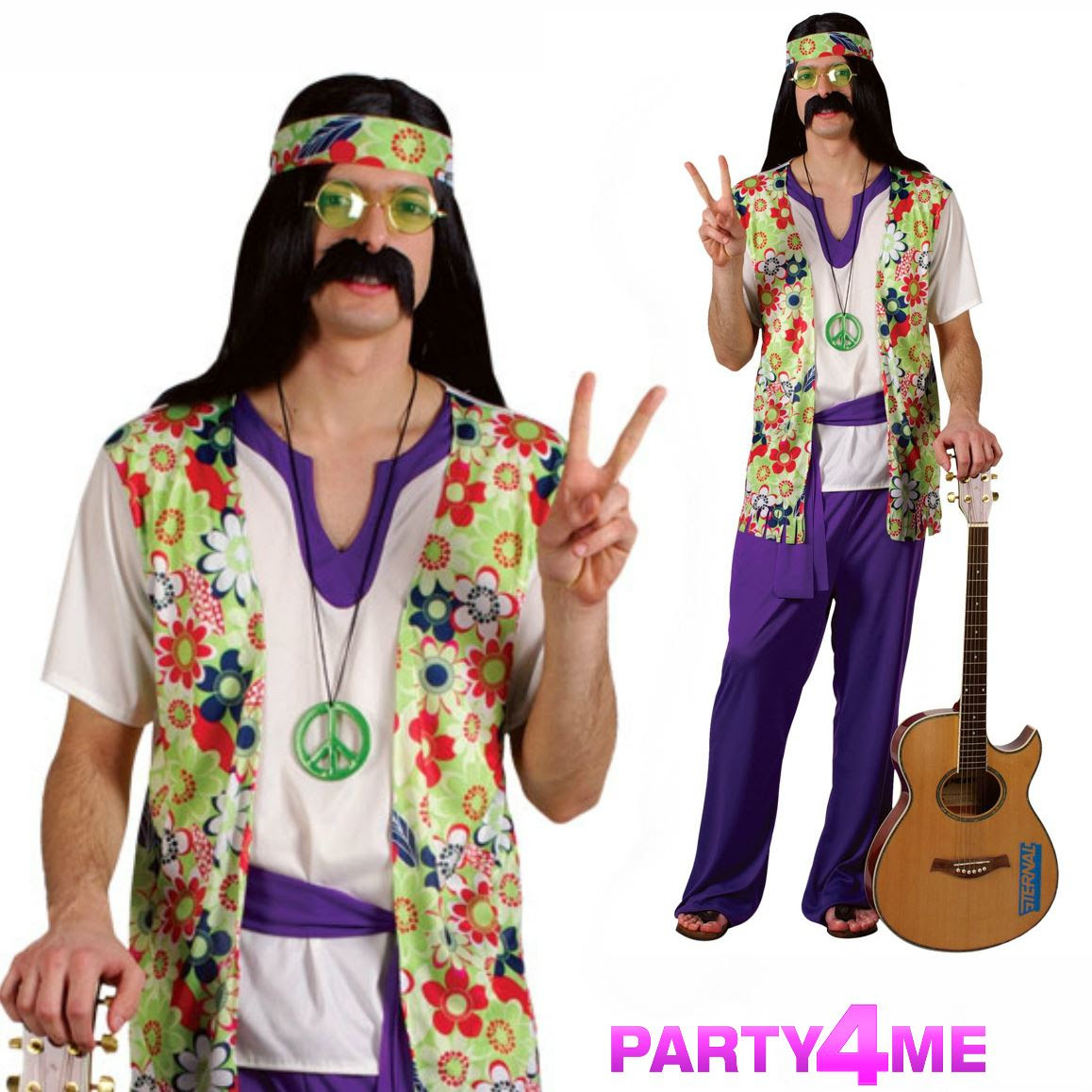 mens groovy hippy outfit 60s 70s fancy dress hippie adult