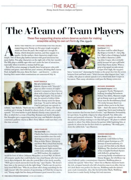 "The Good Wife's Josh Charles and Blue Bloods' Donnie Wahlberg included in ""The A-Team of Team Players"" Emmy story in the latest issue of THE HOLLYWOOD REPORTER!"