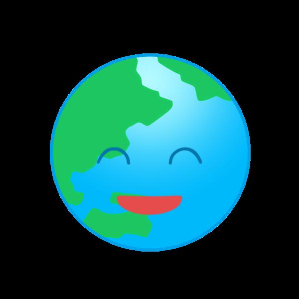 笑顔の地球のイラスト かわいいフリー素材が無料のイラストレイン