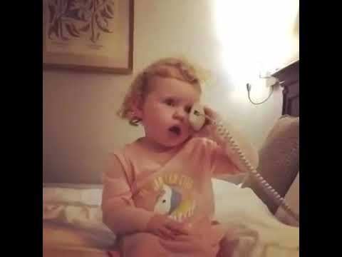 when little girl talking on the phone !