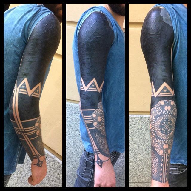 Cool Blackwork Tattoo Sleeve With Elbow Mandala Best Tattoo Ideas