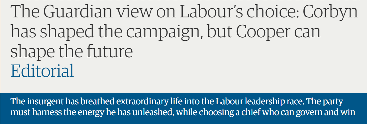 The Guardian view on Labour's choice: Corbyn has shaped the campaign, but Cooper can shape the future