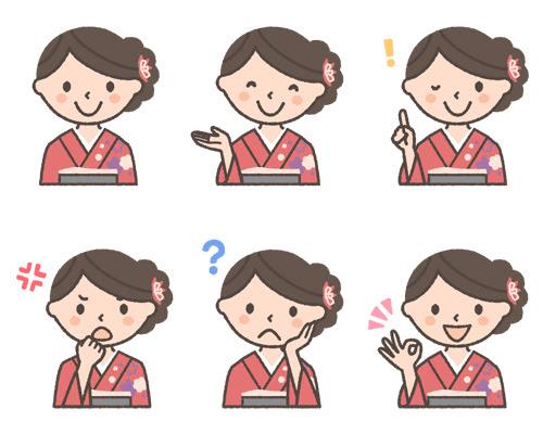 振袖着物を着た女性の表情イラスト6種 可愛い無料イラスト人物