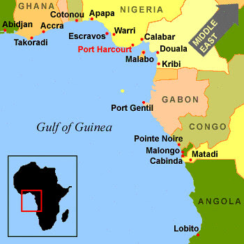 A map of the Gulf of Guinea off the coast of West Africa. There have been US military maneuvers in this region amid reports of so-called 'piracy attacks' of ships. by Pan-African News Wire File Photos