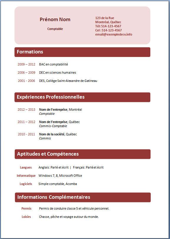 Modele Cv Gratuit Telechargeable Document Online Maplisten