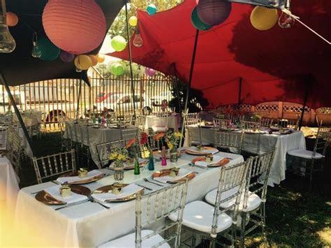 Colour full wedding table set up for a traditional Tsonga