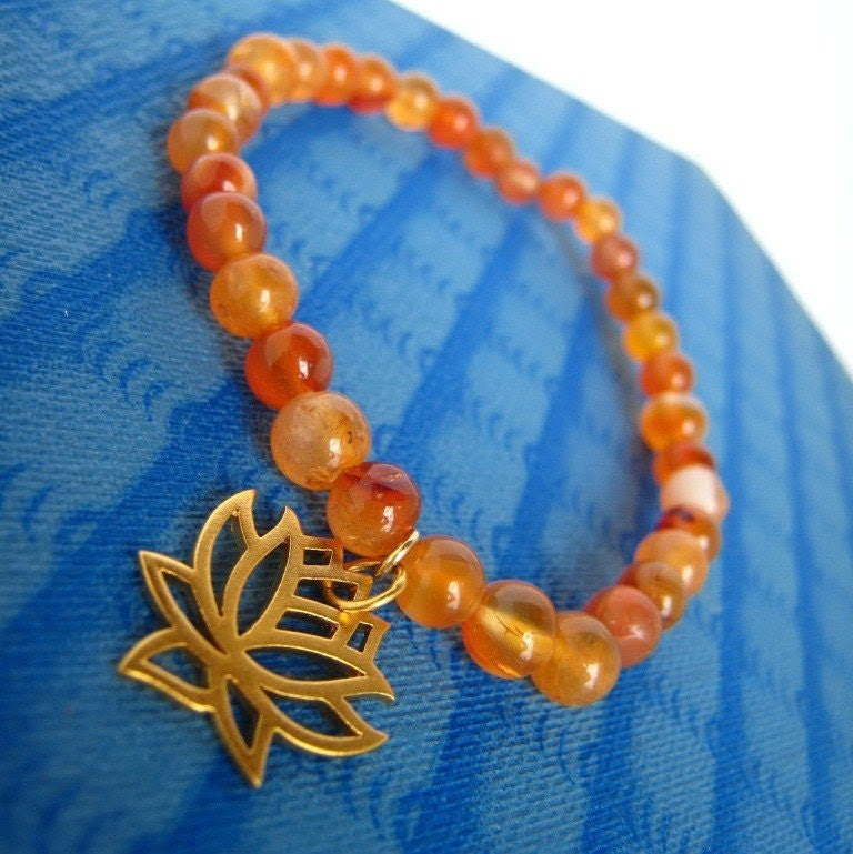 Orange Lotus--stretchy carnelian bracelet with 24 kt vermeil lotus charm