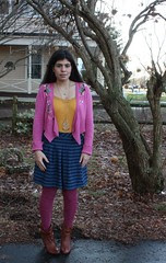 Blue Striped Skirt, Pink Sweater, Cognac Booties