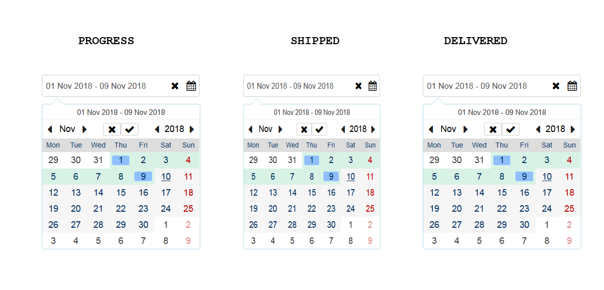 Angular : How to set different date ranges for diffirenet