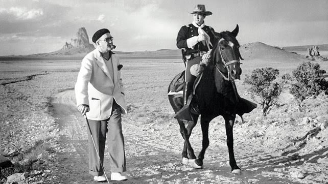 El director John Ford con John Wayne, en un rodaje.