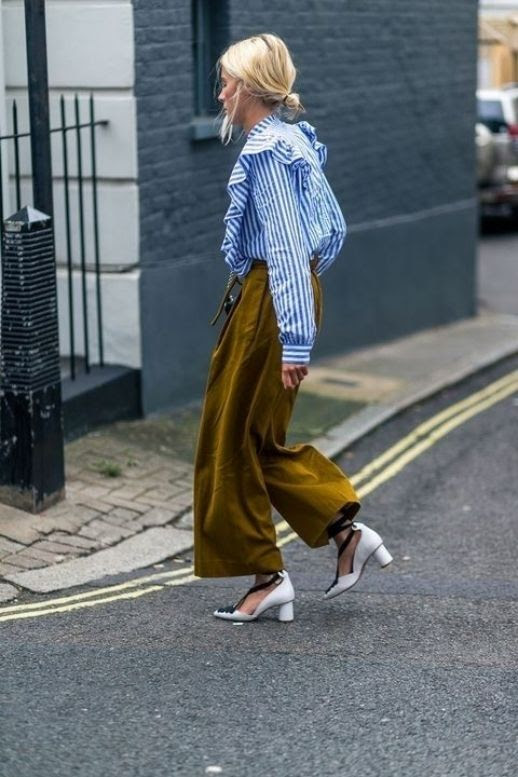Le Fashion Blog Summer Office Outfits Striped Ruffle Shirt Loose Fitting Trousers Funky Heels Via Harpers Bazaar