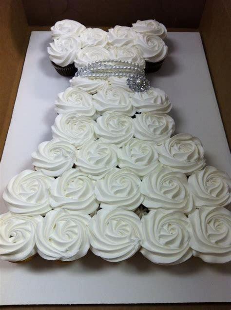 Wedding dress cupcake cake with bling   Bridal showers