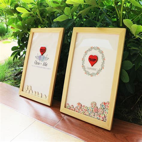 Personalised Wedding guest book alternative wood Heart