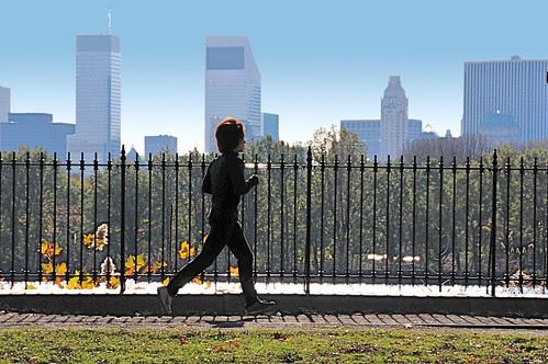 Jogging on a bright November morning