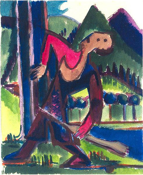File:Ernst Ludwig Kirchner - Knabe mit  Schleuderpfeil - Jäger im  Wald - ca 1928.jpg