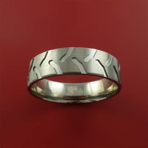 Titanium Ring with Tractor Tire Tread Pattern Inlay Custom