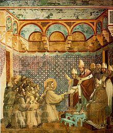 Francisco e seus companheiros diante de Inocêncio III