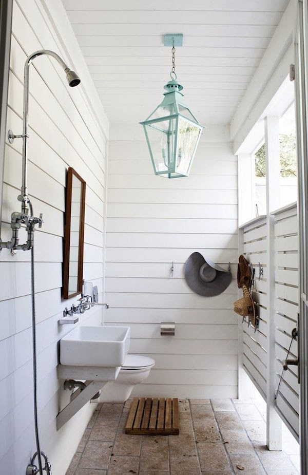 White Paneled Outdoor Shower - Turquoise Lantern - Outdoor Lighting - by Jen Langston interiors