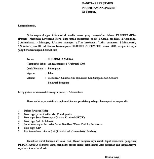 23 Contoh Surat Lamaran Pekerjaan Pertamina Images Contohsurat Lif Co Id