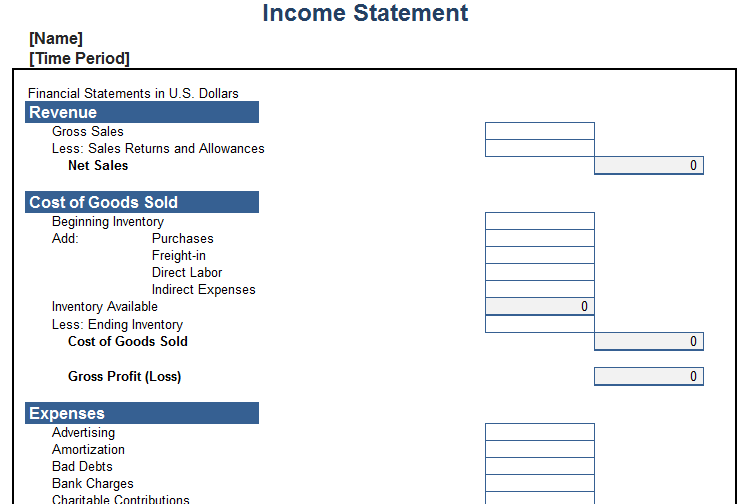 Mapsingen INCOME STATEMENT TEMPLATES – Blank Income Statement