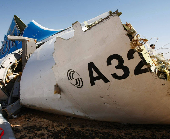 wreckage of a A321 Russian airliner in Wadi al-Zolomat, a mountainous area of Egypt's Sinai Peninsula. Russian airline Kogalymavia's flight 9268 crashed en route from Sharm el-Sheikh to Saint Petersburg on October 31, killing all 224 people on board, the