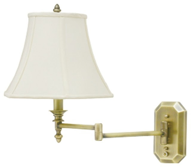 Traditional Antique Brass Bell Shade Plug-In Swing Arm Wall Lamp ...
