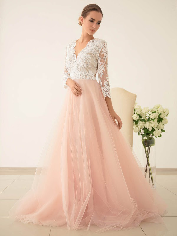 Princess V-neck Tulle with Appliques Lace Sweep Train 3/4 Sleeve Pretty Wedding Dresses #UKM00022828