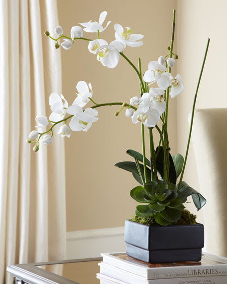 JohnRichard Collection White Orchid in Black Planter Faux