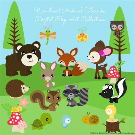 Woodland Animal Friends II Digital Clipart, clip art