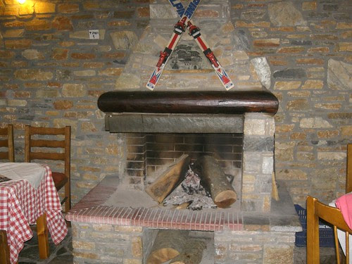 summer time fireplace in pelion central greece