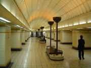 the central hall between the platforms at Gants Hill tube station