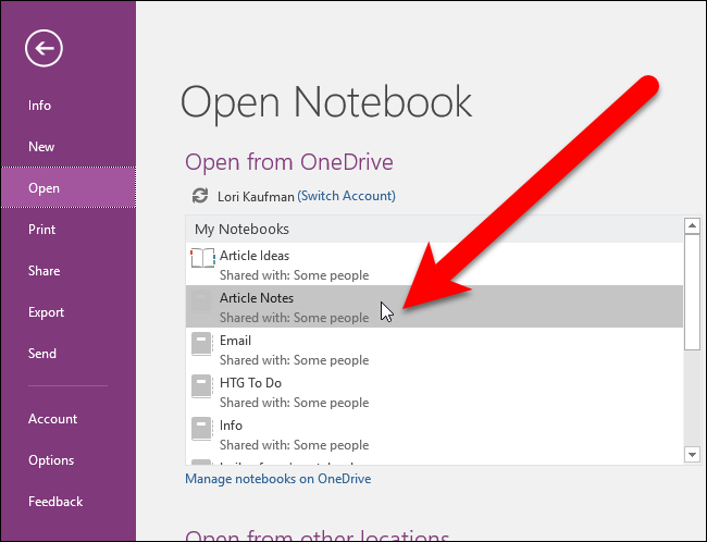 Open Notebooks in OneNote, Evernote to OneNote.