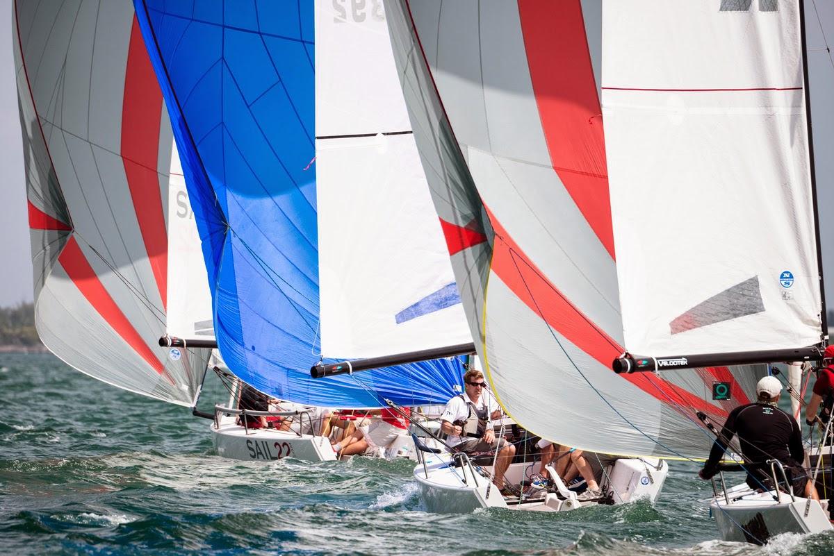 J/70s sailing Bacardi Miami Sailing Week