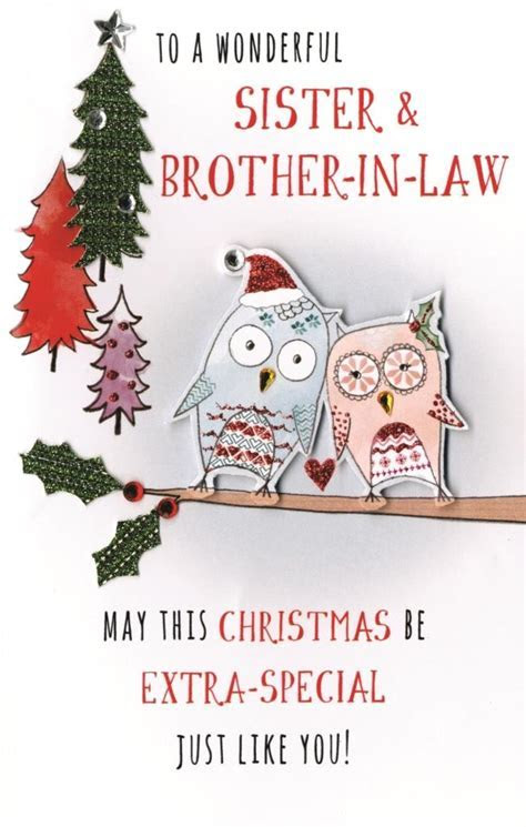 Sister & Brother In Law Embellished Christmas Card   Cards