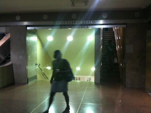 The entrance to the Newark subway/lightrail station, in Newark's Penn Station