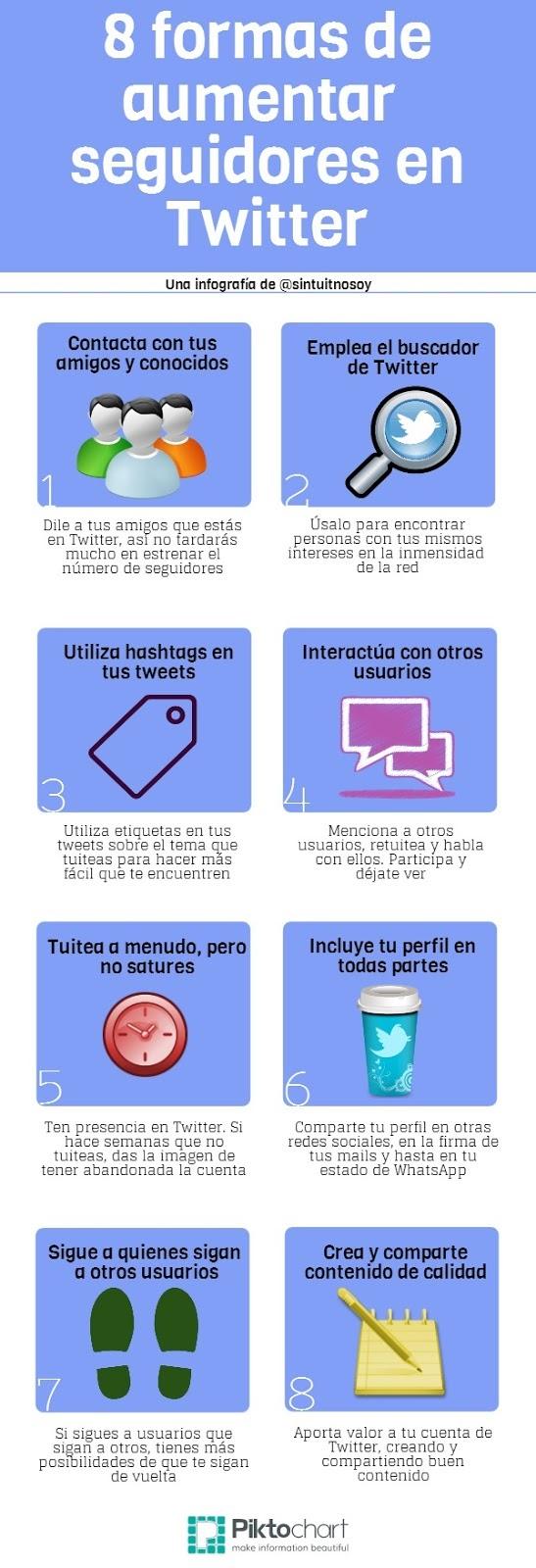 8 formas de aumentar seguidores en Twitter (Infografía)