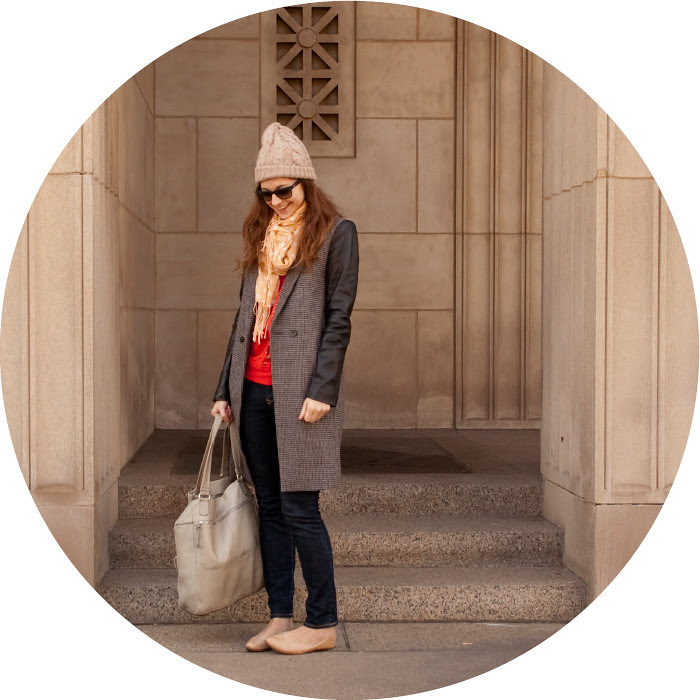 winter outerwear, dash dot dotty, zara coat, tweed and leather sleeves, red sweatshirt, nude flats, tan hats, casual weekend style
