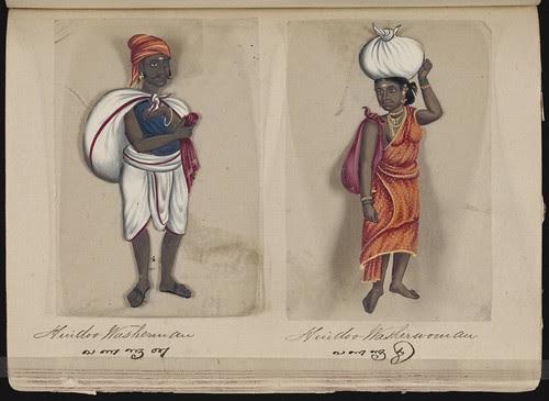 Hindoo washerman - Hindoo washerwoman, Madura, 1837