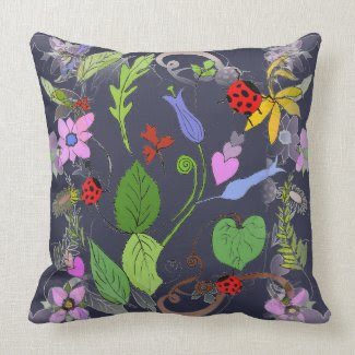 Floral Designed Throw Pillow