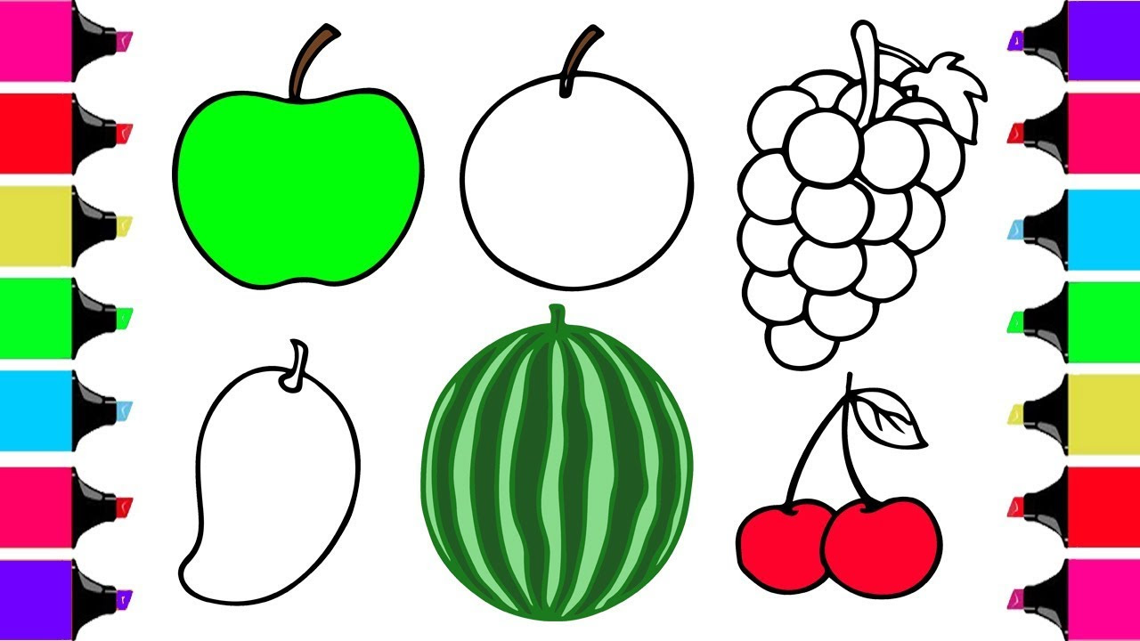 Fruits And Vegetables Drawing For Kids