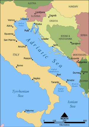 The Adriatic Sea, Durazzo is located on the co...