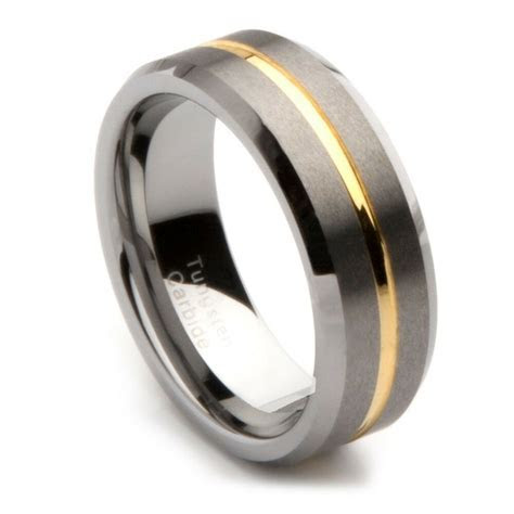 Mens Tungsten Carbide Gold Grooved Wedding Band, 8mm   eBay