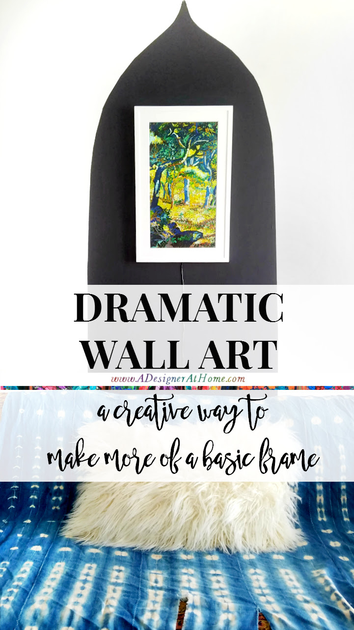 Dramatic Wall Art a creative way to make more of a basic frame. Global inspired hand painted shape accenting a digital canvas from @meetmeural #MeetMeural #BringCultureHome #ad