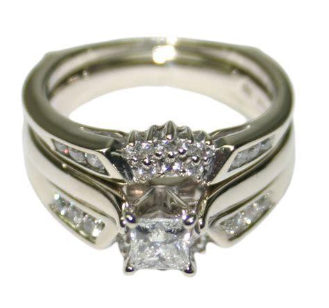 14k White Gold 0.85ct Diamond Women's Wedding Ring Set