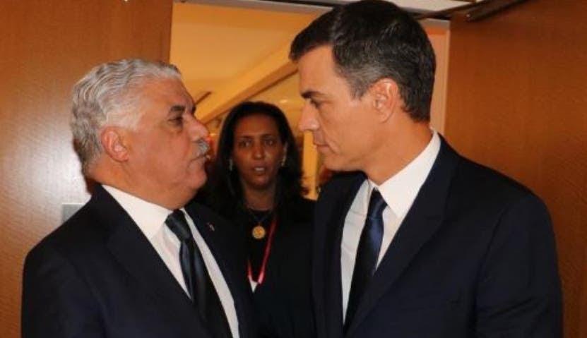 El canciller Miguel Vargas y el presidente Pedro Sánchez.