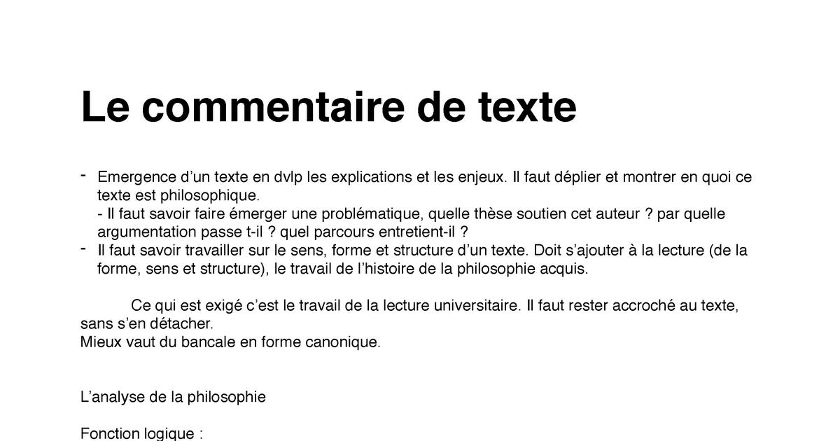 Exemple De Commentaire De Texte Philosophique - Le ...