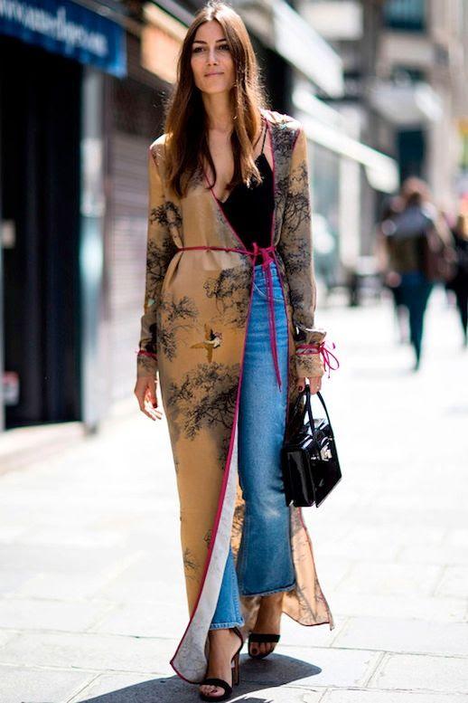 Le Fashion Blog Street Style Giorgia Tordini Kimono Jacket With Red Belt Black Cami Denim Tote Bag Heeled Sandals Via Elle Spain
