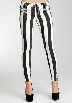 Bebe Stripes Multi Zip Skinny Jeans