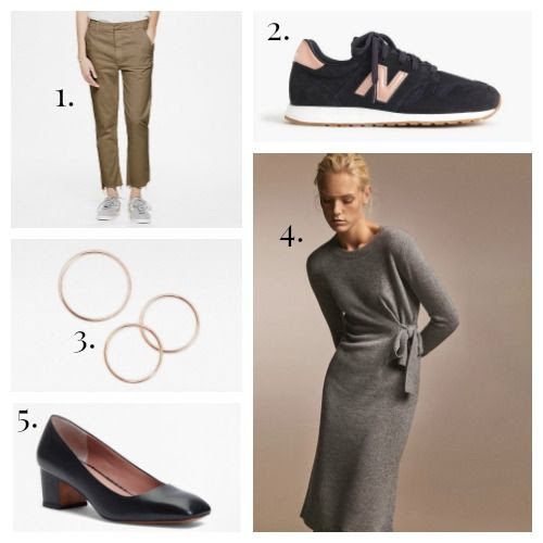 Mother Denim Khakis - New Balance Sneakers - Vrai and Oro Rings - Massimo Dutti Dress - Brooks Brothers Pumps